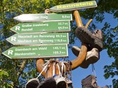 Rennsteig Wegweiser mit Wanderschuhen